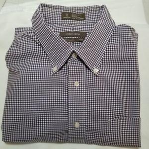 Nordstrom Mens 19/38 XL Shirt Purple Check LS